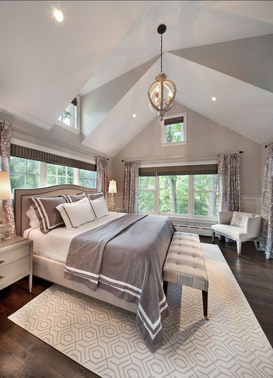 The master bedroom is very elegant and quite soothing. I like the gray patterns being brought to this space from many different sources; it feels natural and cohesive. by @homebunch